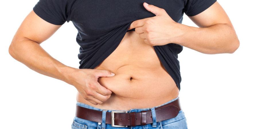 Young man's fatty abdomen